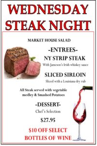 try our wednesday steak night at jamesons in floral park ny