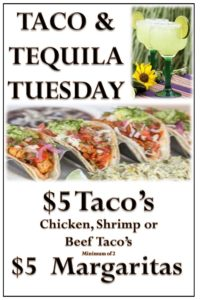 every tuesday get $5 tacos and $5 margaritas at jamesons in floral park ny